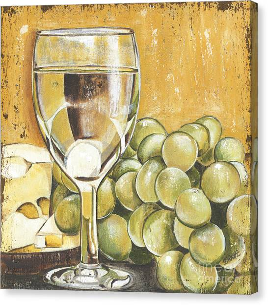 White Wine Canvas Print - White Wine And Cheese by Debbie DeWitt