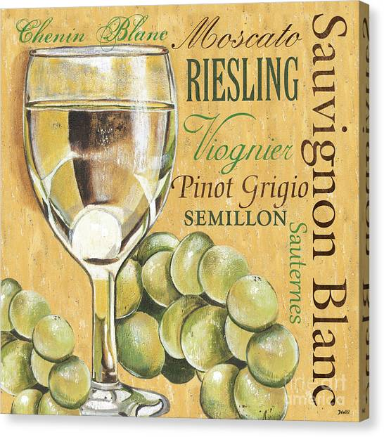 Pub Canvas Print - White Wine Text by Debbie DeWitt