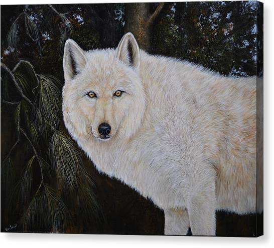 White Wolf In The Woods Canvas Print