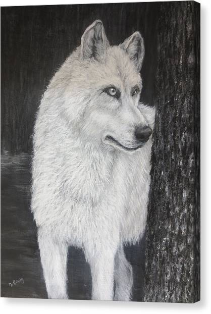 White Wolf On Guard Canvas Print