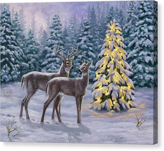 White-tailed Deer Canvas Print - Whitetail Christmas by Crista Forest