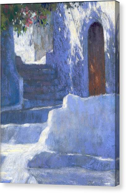 Whitewashed Steps  Canvas Print by Jackie Simmonds