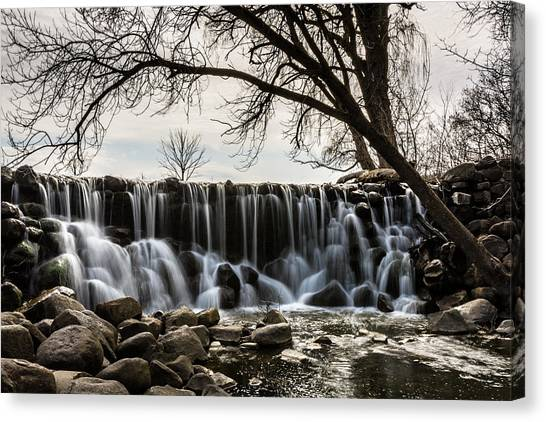 Whitnall Waterfall In Spring Canvas Print