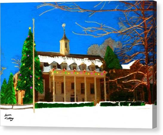 Whittle Hall At Christmas Canvas Print