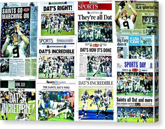 Drew Brees Canvas Print - Who Dat Headlines by Benjamin Yeager