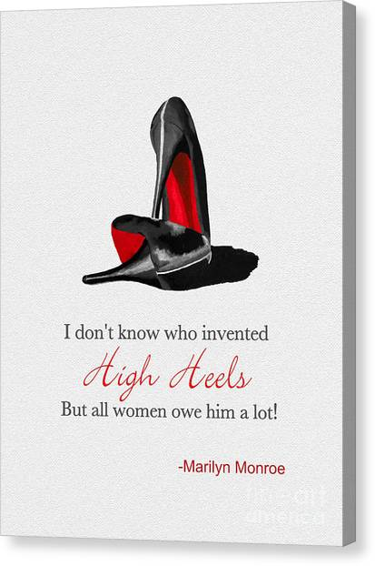 Marilyn Monroe Canvas Print - Who Invented High Heels? by Rebecca Jenkins