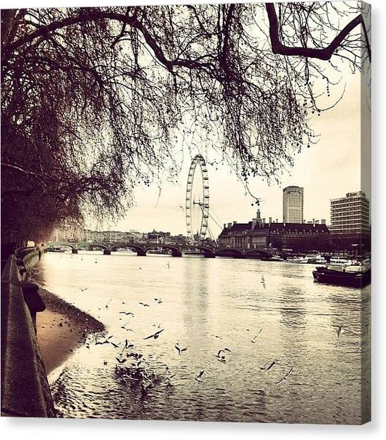 London Eye Canvas Print - Parliament's Beach by Yossarian Crowe