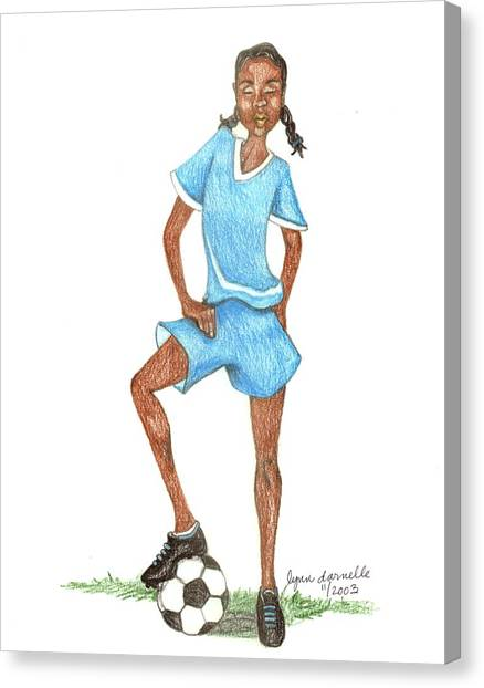 Who Says Black Girls Don't Play Soccer Canvas Print by Lynn Darnelle
