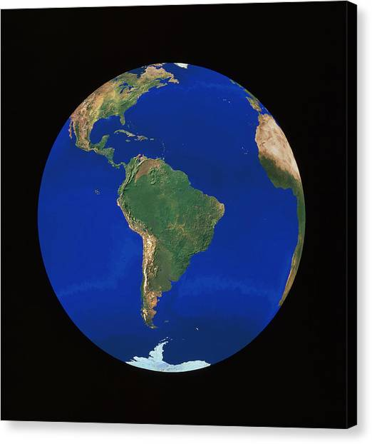Andes Mountains Canvas Print - Whole Earth Centred On South America by Copyright 1995, Worldsat International And J. Knighton/science Photo Library