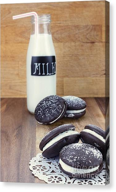 Whoopie Pies Or Moon Pies And Milk Canvas Print