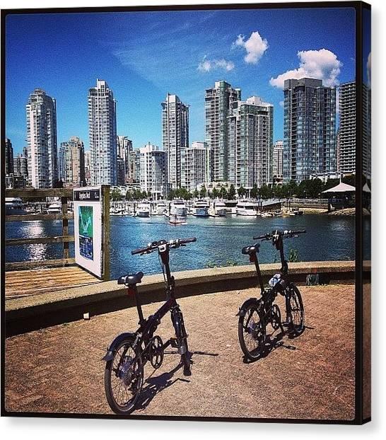 Vancouver Skyline Canvas Print - #whpmindtheclouds #bike #falsecreek by NRyan Ferrer