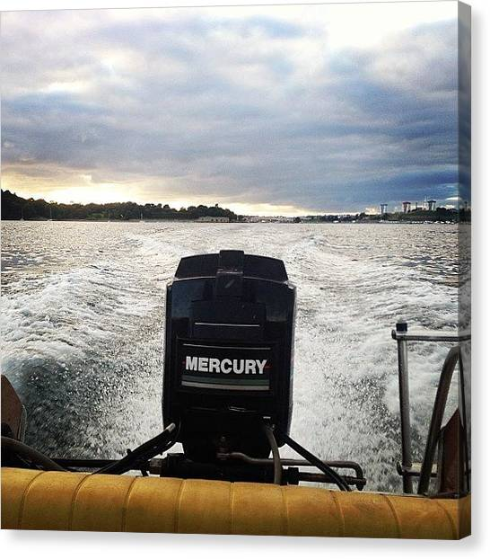 Mercury Canvas Print - Wicked Evening Fishing #glastron by Joe Trethewey