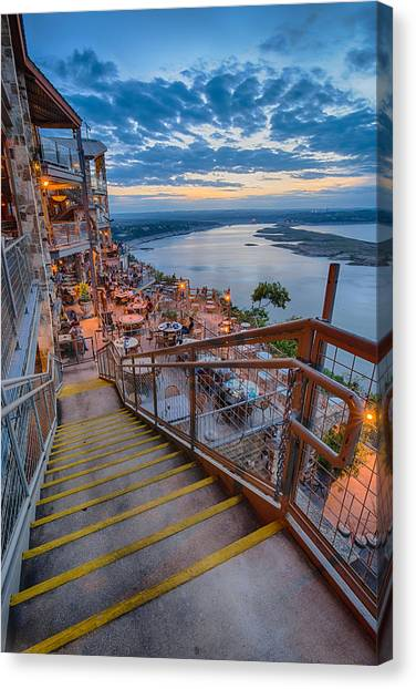 Island .oasis Canvas Print - Wide Angle View Of The Oasis And Lake Travis - Austin Texas by Silvio Ligutti