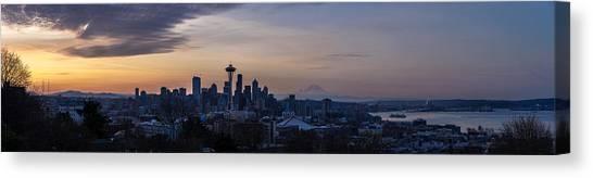 Seattle Skyline Canvas Print - Wide Seattle Morning Skyline by Mike Reid