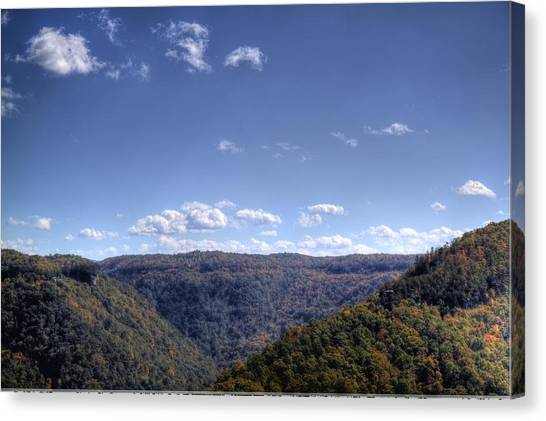 Wide Shot Of Tree Covered Hills Canvas Print
