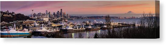 Space Needle Canvas Print - Wider Seattle Skyline And Rainier At Sunset From Magnolia by Mike Reid
