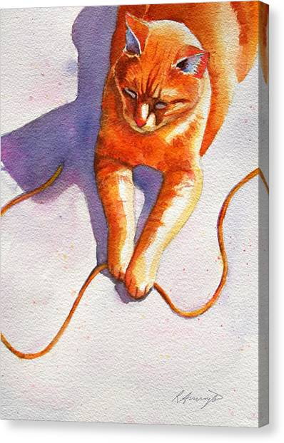 Manx Cats Canvas Print - Widget String by Rachel Armington