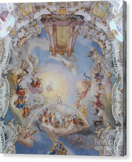 Wies Pilgrimage Church Bavaria Fresko Canvas Print