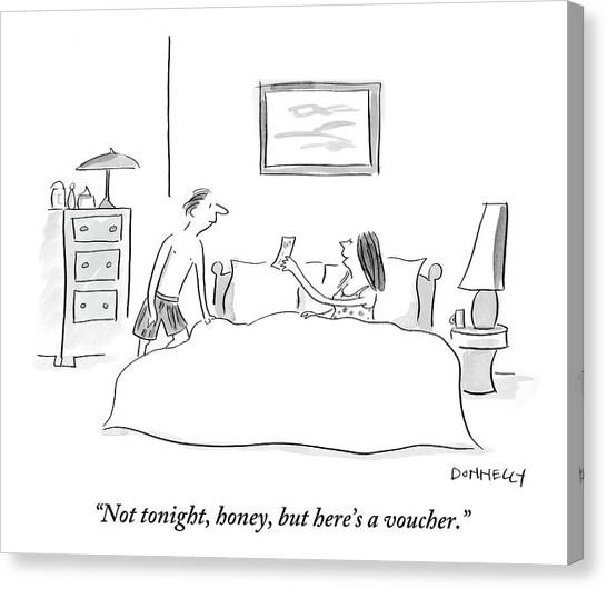 Health Care Canvas Print - Wife Gives Voucher To Husband In Bed by Liza Donnelly