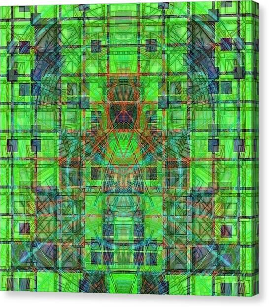 Symmetrical Canvas Print - #wiggteam #wigglife #neon #green by Jeddadiah Aiono