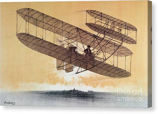 Biplane Canvas Print - Wilbur Wright In His Flyer by Leon Pousthomis