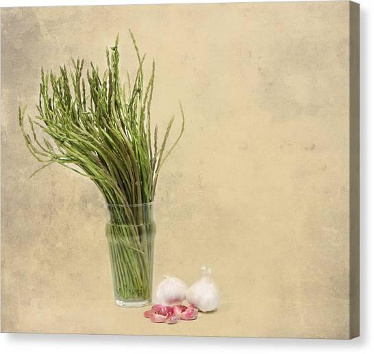 Wild Asparagus And Garlic Canvas Print by Angela Bruno