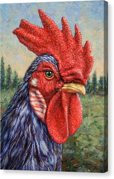 Chickens Canvas Print - Wild Blue Rooster by James W Johnson