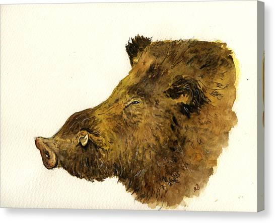 Hogs Canvas Print - Wild Boar Head Study by Juan  Bosco