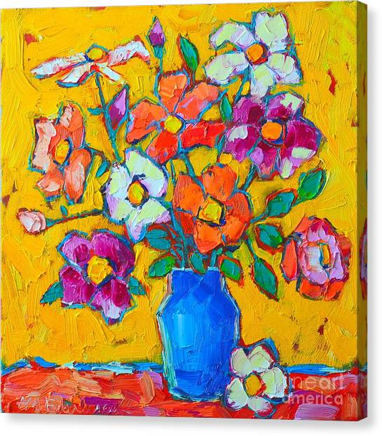 The Joy Of Life Canvas Print - Wild Colorful Roses by Ana Maria Edulescu