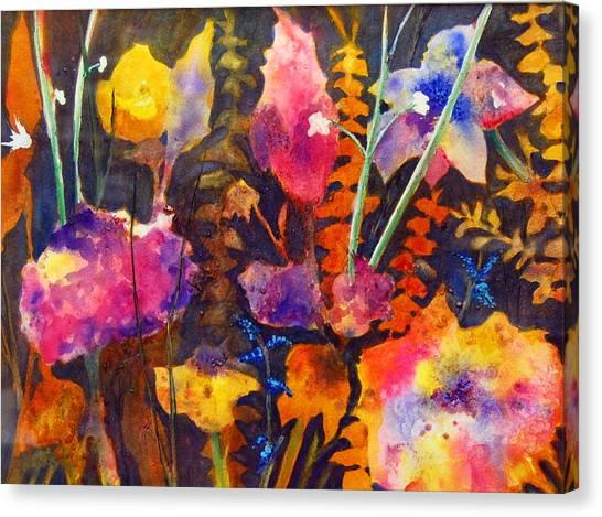 Wild Cottage Garden Canvas Print by Henny Dagenais
