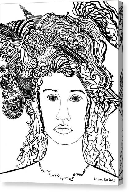 Wild Hair Portrait In Shapes And Lines Canvas Print