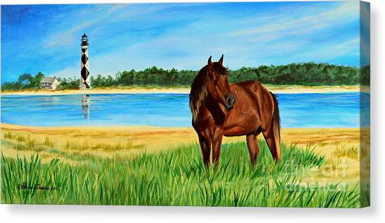 Wild Horse Near Cape Lookout Lighthouse Canvas Print