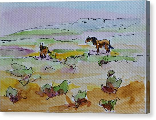 Wild Horses Canvas Print by Karen McLain