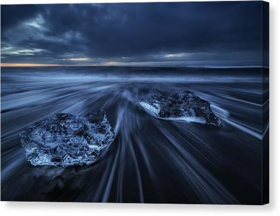 Black Sand Canvas Print - Wild Ice by Juan Pablo De