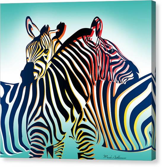 Zebras Canvas Print - Wild Life  by Mark Ashkenazi