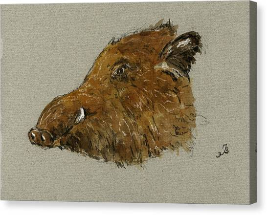 Hogs Canvas Print - Wild Pig by Juan  Bosco
