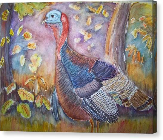 Wild Turkey In The Brush Canvas Print