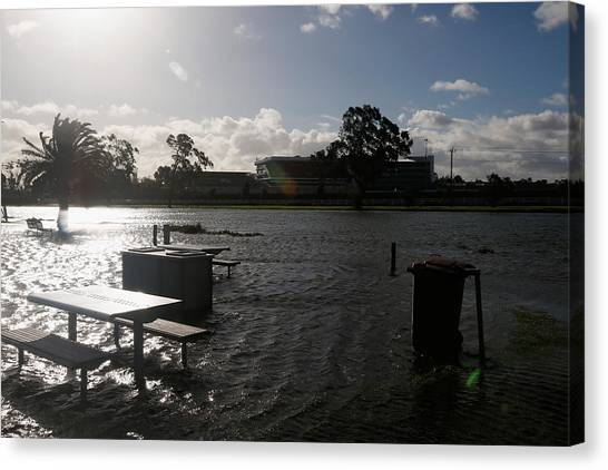Wild Weather Causes Flooding In Melbourne Cbd Canvas Print by Darrian Traynor