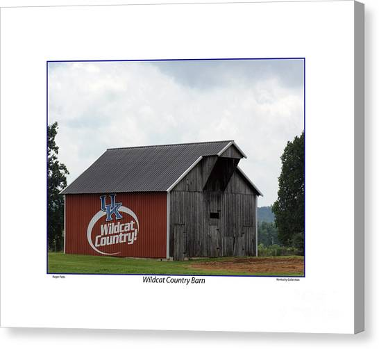 University Of Kentucky Canvas Print - Wildcat Country Barn With White Border by Roger Potts