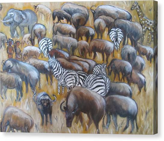 Wildebeest Migration In Kenya Canvas Print
