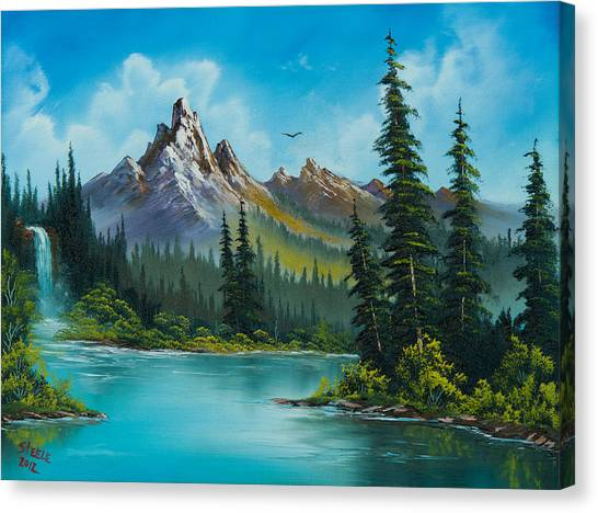 Bob Ross Canvas Print - Wilderness Waterfall by Chris Steele