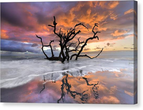 Ocean Sunsets Canvas Print - Wildfire by Debra and Dave Vanderlaan