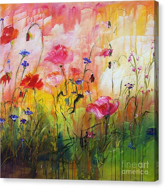 Wildflowers And Pink Poppies Canvas Print