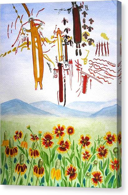 Wildflowers And Rock Art At Halo Shelter  Canvas Print