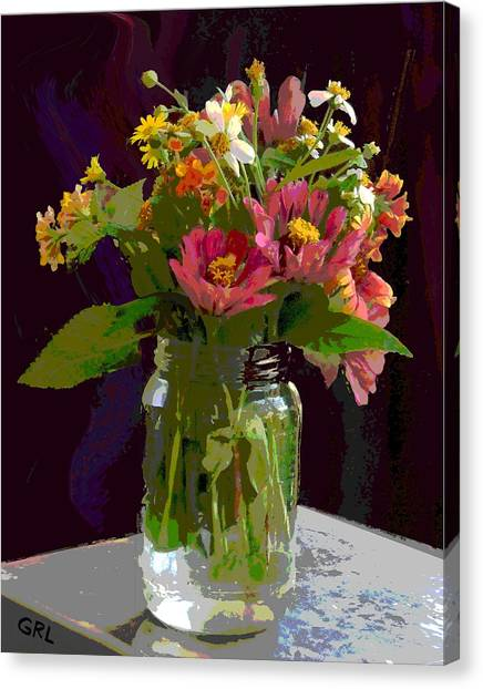 Canvas Print featuring the painting Wildflowers And Zinnias In A Jar  Contemporary Digital Art by G Linsenmayer