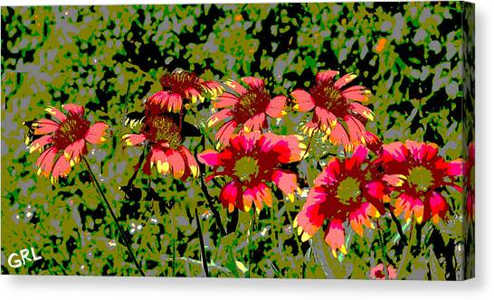 Canvas Print featuring the painting Wildflowers IIi Florida Contemporayary Digital Art by G Linsenmayer