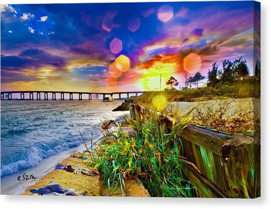 Wildflowers Landscape - Golden Rod Flowers Sunset Canvas Print