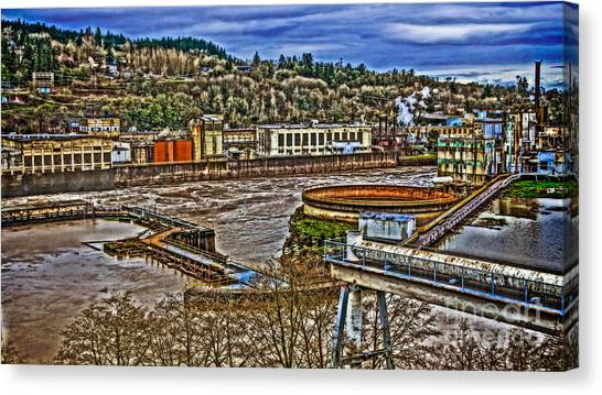 Portland Timbers Canvas Print - Willamette Falls - Blue Heron Paper by Cari Madsen