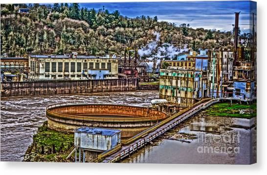Portland Timbers Canvas Print - Willamette Falls - Paper Mill  by Cari Madsen