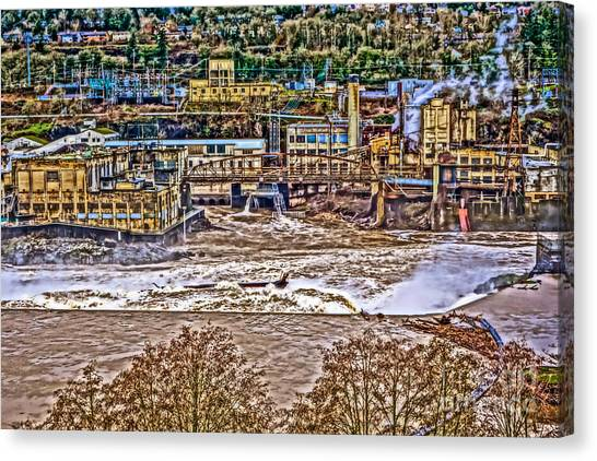 Portland Timbers Canvas Print - Willamette Falls - West Linn Hills by Cari Madsen